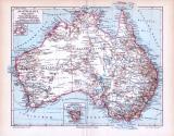 Farbige Lithographie einer Landkarte von Australien aus...