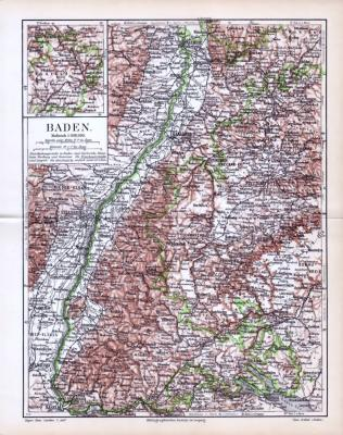 Farbige Landkarte von Baden aus 1893. Der Maßstab beträgt 1 zu 850.000. Distrikthauptstädte sind unterstrichen. Extrafenster zeigt den Distrikt .Bauland