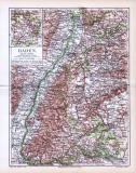Farbige Landkarte von Baden aus 1893. Der Maßstab beträgt...