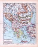 Die farbige Karte zeigt die Länder des Balkans um 1893. Die Länder sind farbig abgesetzt, der Maßstab der Landkarte beträgt 1 zu 6 Millionen.