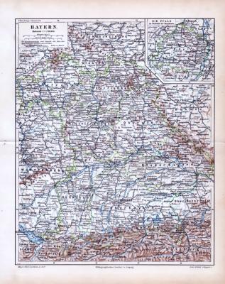 Die Landkarte zeigt Bayern um 1893. Ein Extrafenster zeigt die Pfalz. Darstellung in Farbe, im Maßstab 1 zu 1.700.000 Kreishauptstädte sind doppelt, Bezirksämter einfach unterstrichen. Eisenbahnlinien sind eingezeichnet.