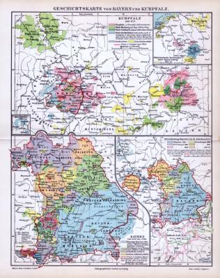 Farbige Geschichtskarten von Bayern und der Kurpfalz von 1893. Gezeigt werden die Perioden von 1329 bis 1777, 1329 bis 1799 und die Entwicklung Bayerns im 19. Jahrhundert.