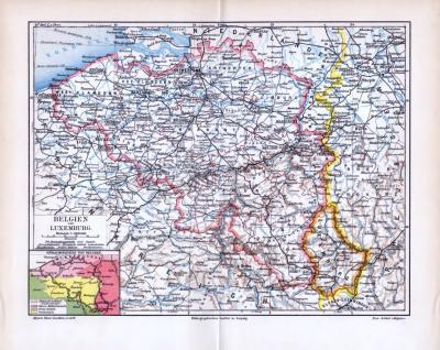 Farbige lithographierte Landkarte von Belgien und Luxemburg aus dem Jahr 1893. Extrakarte Sprachgebiete von Belgien. Maßstab 1 zu 1,3 Millionen.
