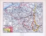 Farbige lithographierte Landkarte von Belgien und...