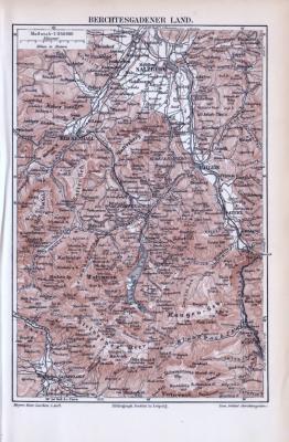 Berchtesgadener Land Landkarte aus dem Jahr 1893 im Maßstab 1 zu 240.000. Farbige Lithographie, gezeigt werden wichtige Städte, sowie Gebirgsmassive.
