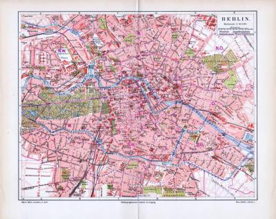 Historische farbige Lithographie eines Stadtplans von Berlin aus dem Jahr 1893. Der Maßstab beträgt 1 zu 31.000, Pferdebahn und Dampfstraßenbahn sind eingezeichnet.