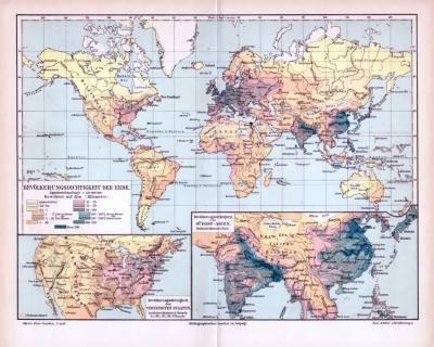Historische farbige Lithographie einer Weltkarte zur Einwohnerdichte aus 1893. Maßstab 1 zu 150 Millionen. Zwie Extrakarten zeigen die Vereinigten Staaten von Amerika und den Südost-Asiatischen Raum.
