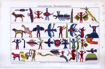 Historische Chromolithographie aus dem Jahre 1893 zum Thema Indianische Bilderschrift.