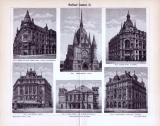 Der Stich von 1893 zeigt 6 Berliner Prachtbauten der Zeit.