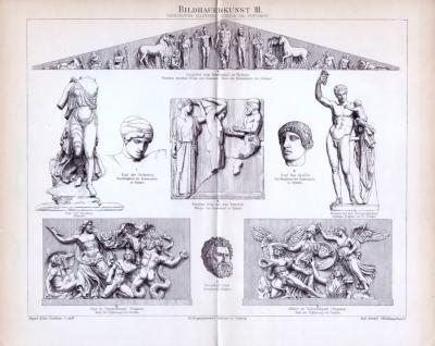 Stich von 1893 mit mehreren Abbildungen Griechischer Bildhauerkunst aus olympia und Pergamon.
