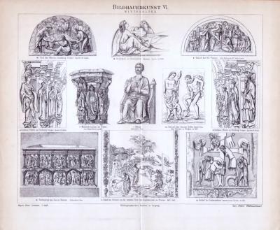Bildhauerei des Mittelalters in einem Stich aus 1893. Gezeigt werden Reliefs, Statuen und Grabmäler.