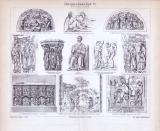 Bildhauerei des Mittelalters in einem Stich aus 1893....