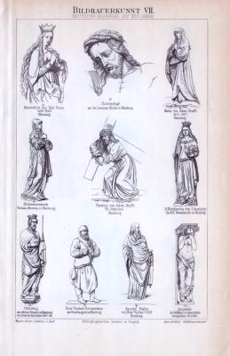 Der Stich aus 1893 zeigt die Italienische Bildnerei vom vierzehnten bis siebzehnten Jahrhundert.