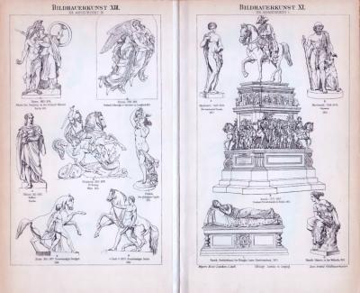 Doppelseite mit Stichen aus 1893. Abgebildet sind Verschiedene Statuen, Grabmäler und Denkmäler des neunzehnten Jahrhunderts.