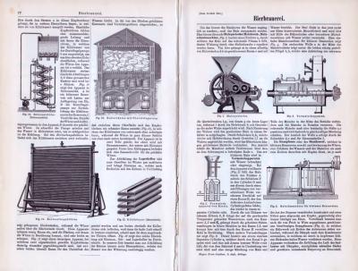 Abhandlung mit Stichen zum Thema Bierbrauerei aus dem Jahr 1893.