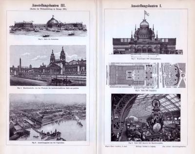 Verschiedene Stiche aus 1893 zeigen monumentale Ausstellungsbauten historischer Weltausstellungen. Gezeigt werden Bauten der Ausstellungen Kopenhagen, Paris, Chicago, Wien und Berlin.