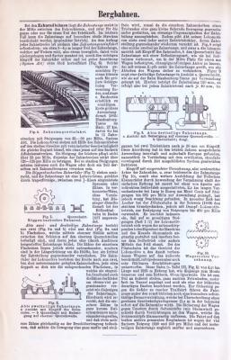 Abhandlung zum Thema Bergbahnen aus dem Jahr 1893. Die Rückseite zeigt 2 Stiche aus 1893 zeigen die Seilbahn Territet-Gilion und die Zahnradbahn zum Pilatus.