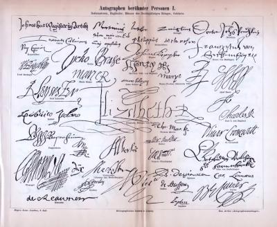 Druck von 1893 mit den unterschriften berühmter Pesönlichkeiten. Hier abgebildet sind die Autographen von Reformatoren, Engländern, Gelehrte, Fürsten, Staatsmännern, Feldherren, etc..