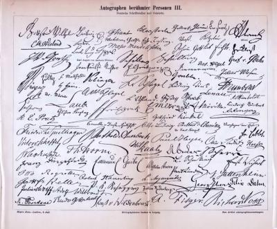 Druck von 1893 mit den unterschriften berühmter Pesönlichkeiten. Hier abgebildet sind die Autographen von Musikern, deutschen Schriftstellern und Gelehrten.