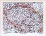 Farbig illustrierte Landkarte aus dem Jahr 1893. Im Format 1 zu  1.750.000 werden Böhmen, Mären, und Schlesien gezeigt.