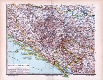 Farbig illustrierte Landkarte von Bosnien und Montenegro aus dem Jahr 1893. Darstellung im Maßstab 1 zu 1.700.000.