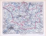Farbige Illustration eine Landkarte Brandenburgs aus dem Jahr 1893. Der Maßstab beträgt 1 zu 1.250.000. Extra Fenster zeigt Berlin und Umgebung.