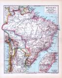 Farbig illustrierte Landkarte von Brasilien im Maßstab 1 zu 20 Millionen. Extrafenster zeigt Deutsche Ansiedlungen in Südbrasilien.
