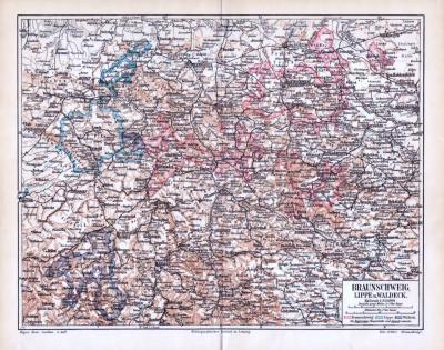 Farbig illustrierte Landkarte aus 1893 von Braunschweig, Lippe und Waldeck. Maßstab 1 zu 850.000. Grenzen sind farbig eingezeichnet.