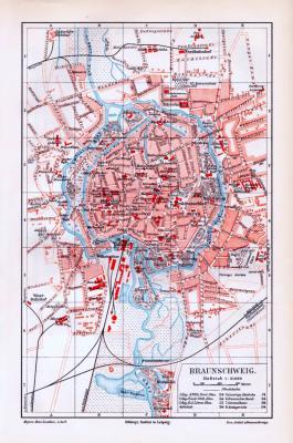Farbig illustrierter Stadtplan von Braunschweig aus dem jahr 1893. Maßstab 1 zu 21.000. Wichtige Straßen, Plätze und Bauten sind eingezeichnet.