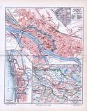 Stadtplan von Bremen aus 1893, farbig illustriert im Maßstab 1 zu 20.000. Extrafenster zeigen Bremerhaven und das Gebiet der freien Hansestadt.