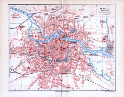 Farbige Illustration des Stadtplans von Breslau aus 1893. Der Maßstab beträgt 1 zu 19.500.