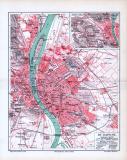 Stadtplan von Budapest aus 1893 in einer farbigen Illustration. im Maßstab von 1 zu 40.000 mit Extrafenster des Umlandes von Budapest.