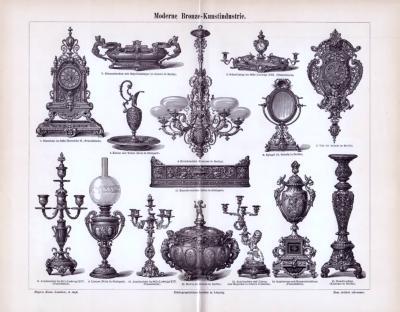 Stich zum Thema Moderne Bronze Kunstindustrie aus 1893. Das Blatt enthält 15 verschiedene Kunstobjekte, wie Kronleuchter, Standuhren, Standleuchter und Lampen.