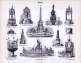 Der Stich aus 1893 zeigt 12 Abbildungen zum Thema Brunnen.