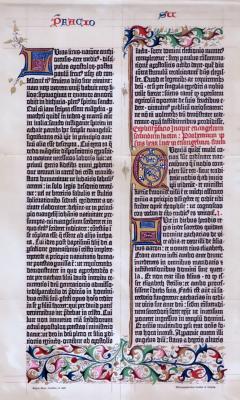 Chromolitographisches Faksimile einer Prachtseite der Gutenberg Bibel.