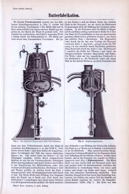 Wissenschaftliche Abhandlung zum Thema Butterfabrikation aus 1893. Die zweiseitige Abhandlung enthält Stiche, die Maschinen zur Butterherstellung zeigen.