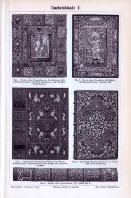Der Stich aus 1893 zeigt 5 Bucheinbände. Die zweite Seite zeigt 4 Abbildungen von kunstfertigen Bucheinbänden.