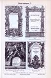 Der Stich aus dem Jahr 1893 zeigt 4 Titelseiten von kunstvoll gestalteten Büchern aus Renaissance, Barock und Rokoko. Die Rückseite zeigt 11 Figuren verschiedener kunstvoller Buchverzierungen.