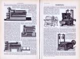 Abhandlung zum Thema Brotfabrikation aus 1893 mit verschiedenen Stichen, die Maschinen und Herstellungsverfahren darstellen.