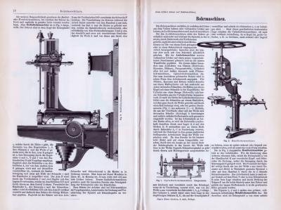 Abhandlung zum Thema Bohrmaschinen aus 1893. Verschiedene Abbildungen zeigen Bohrmaschinentypen und deren technischen Aufbau.