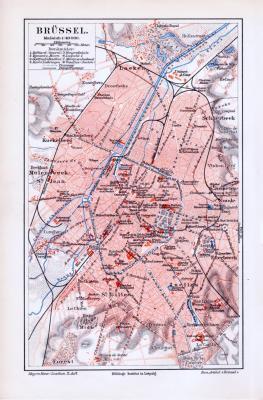 Lithographierter farbiger Stadtplan von Brüssel aus dem Jahr 1893. Der Maßstab beträgt 1 zu 40.000. Eingezeichnet sind Stadtteile, Straßen und Eisenbahnlinien sowie Denkmäler.