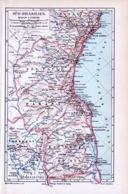 Farbige Lithographie einer Landkarte von Süd-Brasilien aus dem Jahr 1893. Der Maßstab beträgt 1 zu 8,5 Millionen.