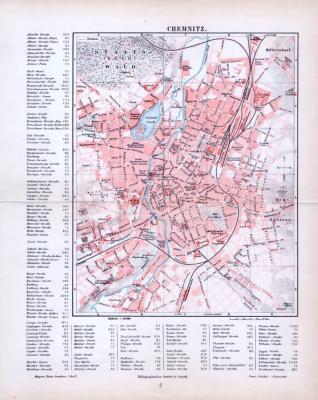 Farbige Lithographie des Stadtplans von Chemnitz aus dem Jahr 1893. Der Maßstab beträgt 1 zu 20.000.