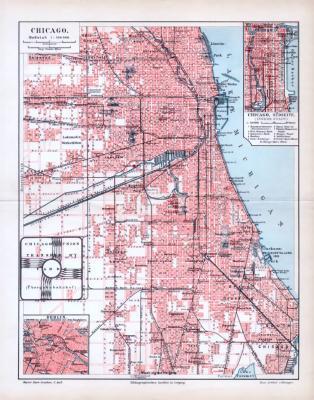 Farbige Lithographie des Stadtplans von Chicago aus 1893. Maßstab 1 zu 100.000 und 1 zu 50.000.