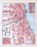 Farbige Lithographie des Stadtplans von Chicago aus 1893....