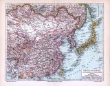 Farbig illustrierte Landkarte von Japan und China aus dem Jahr 1893. Maßstab 1 zu 18.500.000.