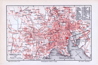 Farbig illustrierter Stadtplan von Chrisiania aus dem Jahr 1893 mit Straßenverzeichnis im Maßstab 1 zu 24.000.