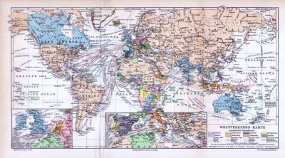 Die farbige Lithographie aus 1893 zeigt eine Weltkarte zum Thema Verkehr und Verkehrswege. Europäische Kolonien sind eingezeichnet. Konsulate und Schiffslinien sind nach Nationen eingetragen.