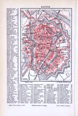Farbig lithographierter Stadtplan von Danzig aus 1893. Maßstab 1 zu 22.000. Alphabetisches Straßenverzeichniss.