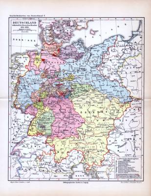 Farbig lithographierte Geschichtskarte der deutschen Einzelstaaten zu Zeitden des Deutschen Bundes von 1815 bis 1866. Maßstab 1 zu 5.153.000 deutsche Meilen.